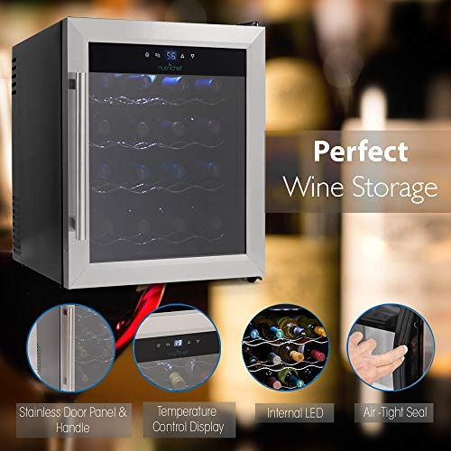 NutriChef 16 Bottle Thermoelectric Wine Cooler / Chiller | Counter Top Red And White Wine Cellar | FreeStanding Refrigerator, Quiet Operation Fridge | Stainless Steel by NutriChef (Image #4)