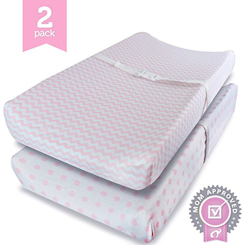 Ziggy Baby Jersey Cotton Changing Pad Cover, Pink/White, 2 Pack