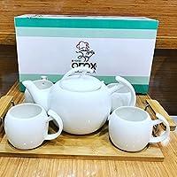 Arox Çaydanlıklı Çay Takımı Fincan Set Bambu Tepsi