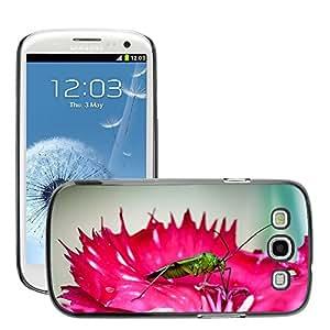 Just Phone Cases Etui Housse Coque de Protection Cover Rigide pour // M00127448 Insecto verde del insecto de la flor de // Samsung Galaxy S3 S III SIII i9300