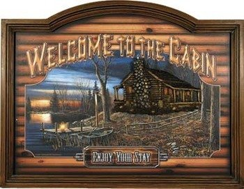 River's Edge Products Welcome To The Cabin 3-Dimensional Pub Sign