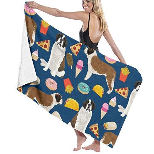 Saint Bernard Dog Dogs and Junk Food Designs Tacos Fries Donuts Navy Microfiber Pool Beach Towel Quick Dry Beach Towel for Adult 32 X 52 Inch (Best Food For Saint Bernard)