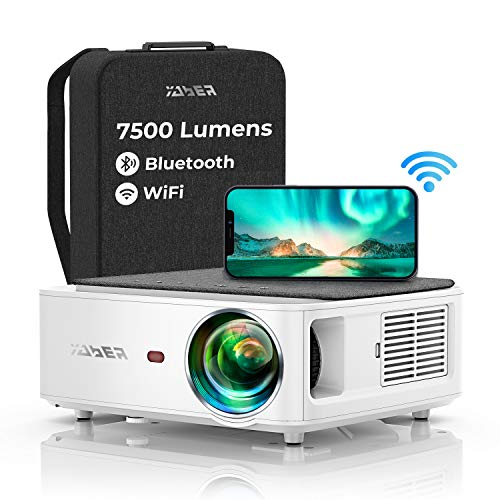Proyector WiFi Bluetooth 1080P, YABER V6 7600 Lúmenes Proyector WiFi Full HD 1080P Nativo Soporta 4K, Ajuste Digital de…