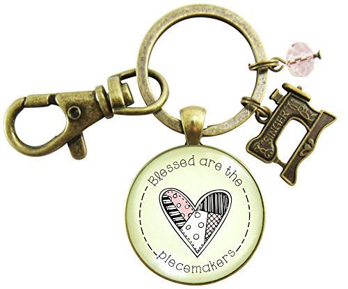 Sewing Machine Keychain Blessed are the Piecemakers Quilter Seamstress Christian Vintage Style Key Ring from Gutsy Goodness