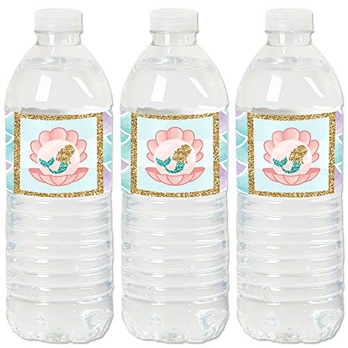 Let's Be Mermaids - Baby Shower or Birthday Party Water Bottle Sticker Labels - Set of 20]()