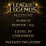Video Games : League of Legends Account NA Level 30 + 30.000 + BE IP 30K Unranked Unverified Email