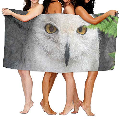 (Haixia Super Soft Bath Towel Wizard Pattern White Owl Themed Animal Green Leaves Amber Eyes Gift Witchcraft Print Full White Green Black)