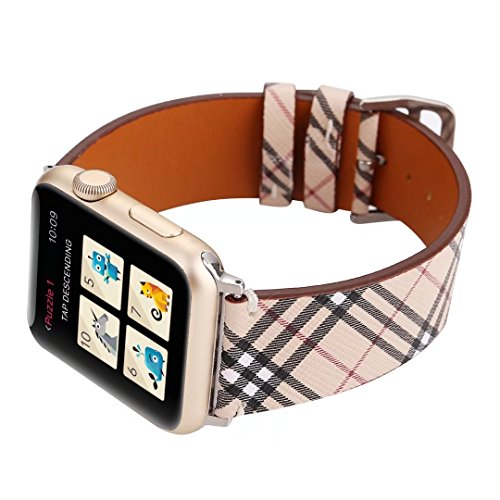 TCSHOW for Apple Watch Band 42mm,42mm Soft PU Leather Pastoral/Rural Style Replacement Strap Wrist Band with Silver Metal Adapter for Apple Watch Series 3/2/1(Not for Apple Watch 38mm) (Z8) by MeShow (Image #2)