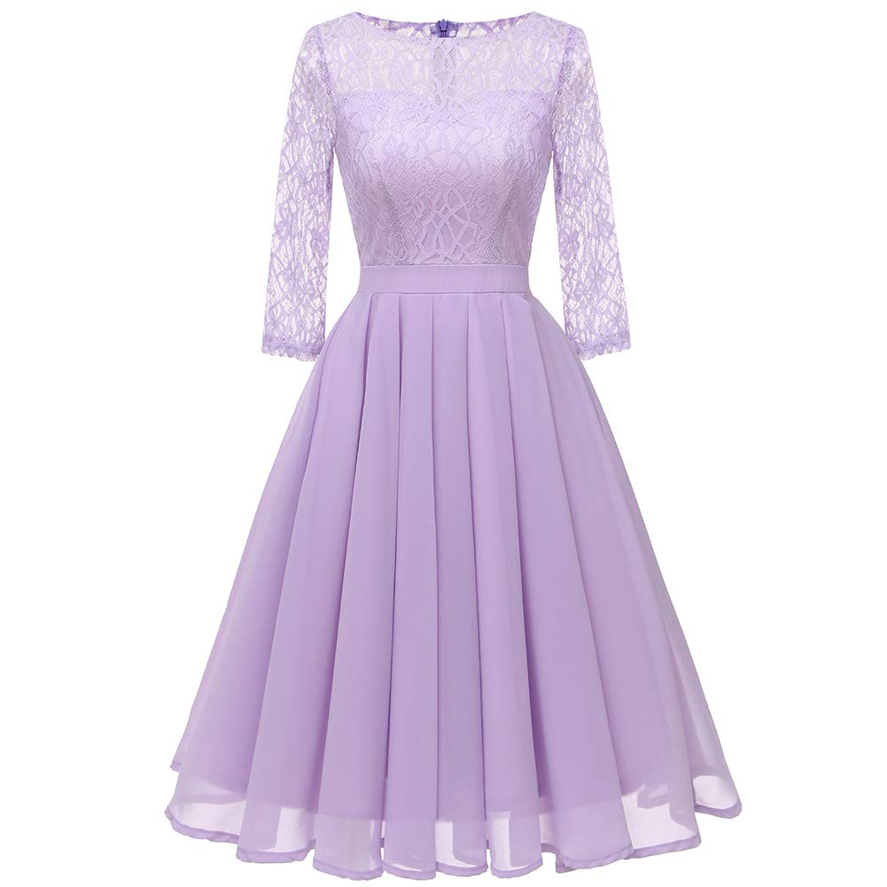 Purple Women's Solid colord Lace ONeck Dress  Spring Summer Party Daily Basic A Line Mesh Tulle Dress