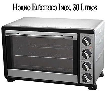 HORNO eléctrico convección y rustipollo 30 LITROS ACERO INOXIDABLE, Temperatura regulable 100-230ºC Puerta