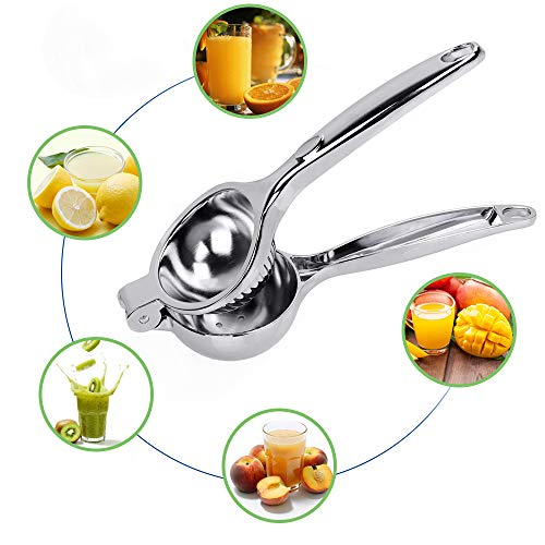 Restlandee Lemon Squeezer, Quality Stainless Steel Lime Squeezer, Heavy Duty Solid Metal Citrus Squeezer, Lemon Juicer for The Most Juice Possible, Hand Juicer, Dishwasher Safe Manual Juicers, Silver
