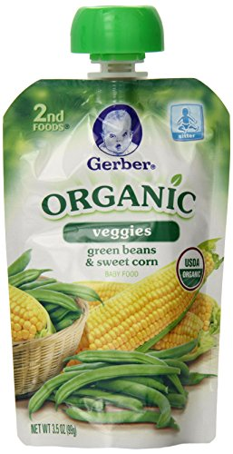 Gerber Organic 2nd Foods Pouches, Green Beans, Sweet Corn, 3.5 Ounce, 12 count (Gerber Baby Food Green Beans compare prices)