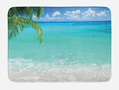 Ocean View Bath - Lunarable Ocean Bath Mat by, Exotic Lebanon Beach Panoramic Sea View Clean Water and Blue Sky Picture, Plush Bathroom Decor Mat with Non Slip Backing, 29.5 W X 17.5 W Inches, Turquoise Green White