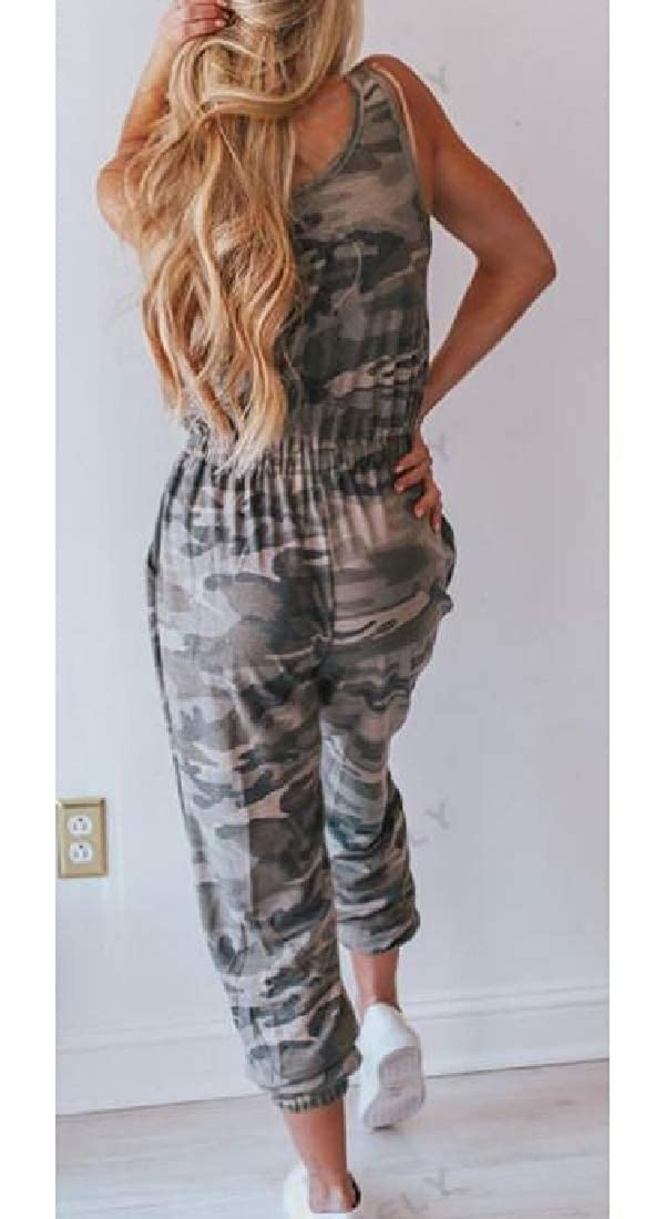 Hajotrawa Womens Casual Camouflage Printed Playsuit Sleeveless Jumpsuit