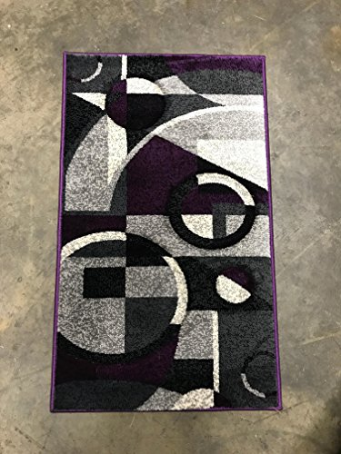 Modern Door Mat 400,000 Point Area Rug Purple ,Black & Grey 322 Contempo(2ft.x3ft4in.) (Door Designs Contemporary)