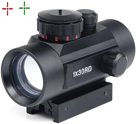 Rifle scope 1x30mm Red Dot Sight with 22mm Weaver Picatinny Mount Five Brightness Settings Illuminated red Reticle for Hunting Spotting Aiming Positioning