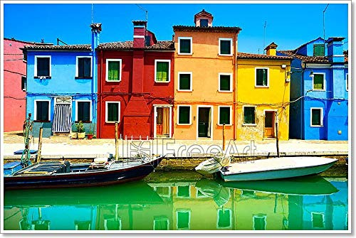Venice Landmark, Burano Island Canal, Colorful Houses Boats, Italy. Long Exposure Photography Paper Print Wall Art (36in. x 54in.)