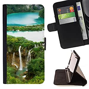DEVIL CASE - FOR Samsung Galaxy S4 IV I9500 - Waterfall Forrest - Style PU Leather Case Wallet Flip Stand Flap Closure Cover