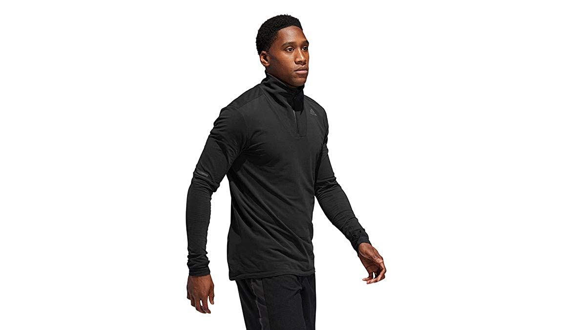 adidas Mens Own the Run 3-Stripes Crew Running Sweatshirt