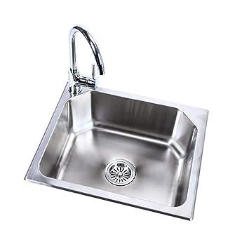 304 Lavello Singolo in Acciaio Inox Lavabo sopra lavabo da ...