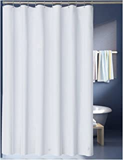 LanMeng Solid White Fabric Shower Curtain Liner, Extra Long, Mildew Free  Water