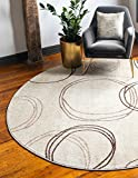Cheap Unique Loom Autumn Collection Casual Circles Warm Toned Beige Round Rug (3′ x 3′)