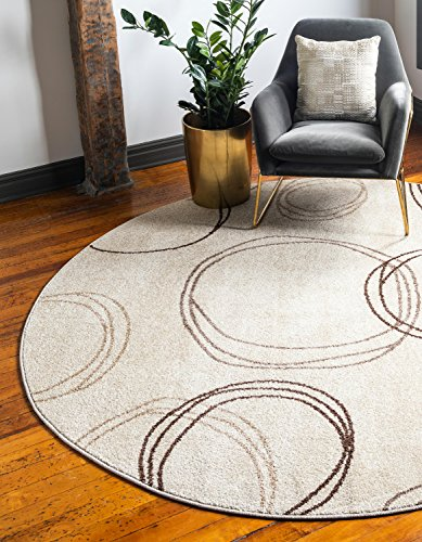 Unique Loom Autumn Collection Casual Circles Warm Toned Beige Round Rug (3' x 3')