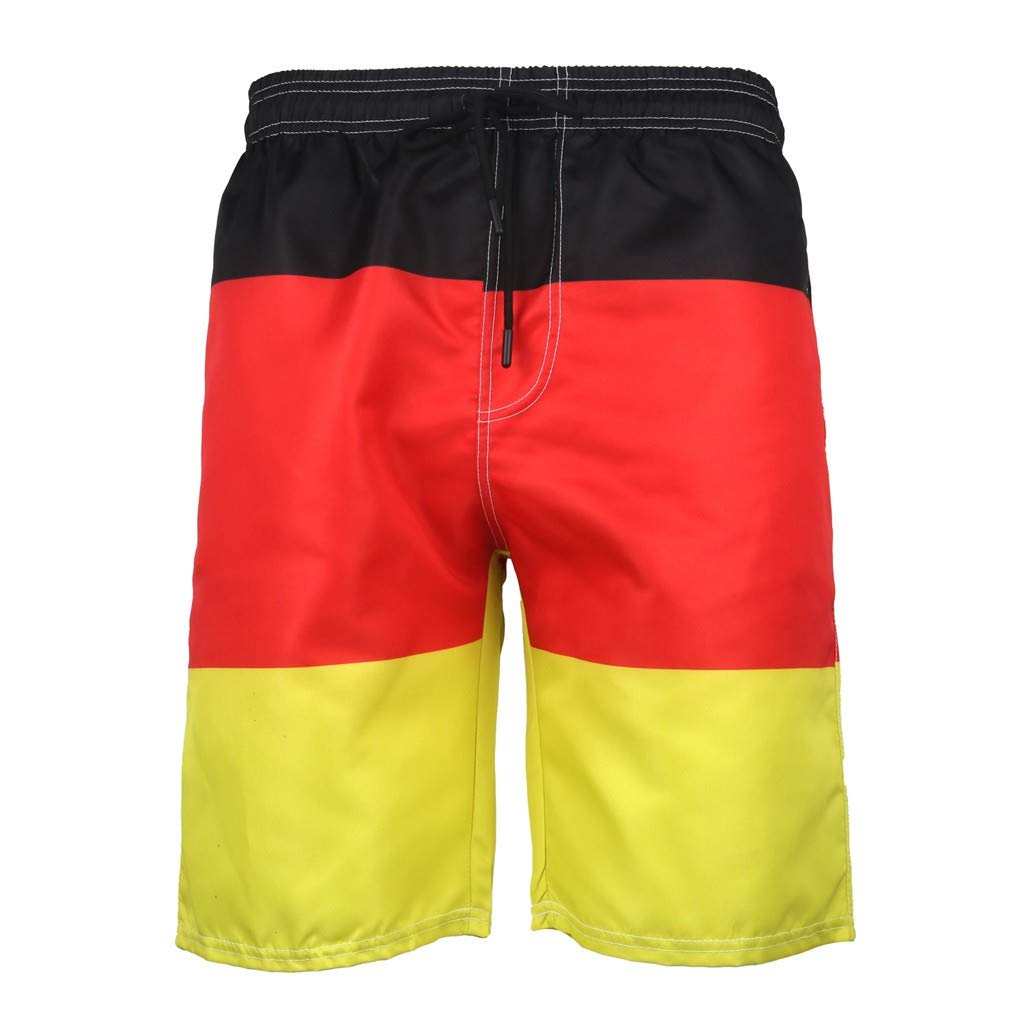 MODOQO Men's Swim Trunks-Quick Dry Fashion Color Patchwork Bathing Suit Shorts (Multicolor,CN-3XL/US-XL)