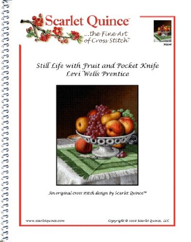 Scarlet Quince PRE006 Still Life with Fruit and Pocket Knife by Levi Wells Prentice Counted Cross Stitch Chart, Regular Size Symbols