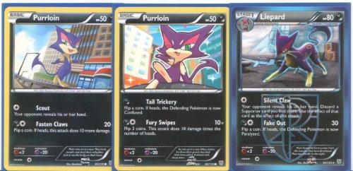Liepard and Purrloin - Rare Pokemon Card Evolution Set (Plasma Storm #82, #83 and #84) - Pokemon Evolution Set