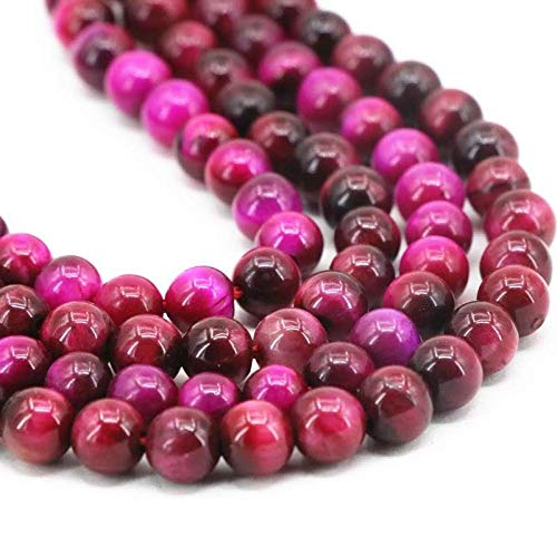 (Nature Stone Round Loose Gemstone Bead for Jewelry Making DIY barcelet Necklace (Rose Tiger Eye, 8mm(47-50pcs/string)))