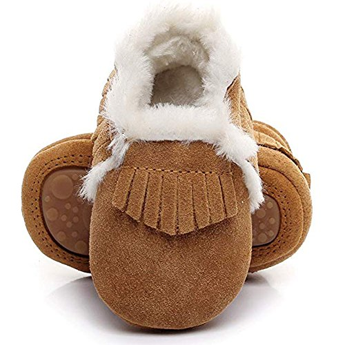 Tag Toddler Shoe - HONGTEYA Baby Moccasins with Fur Fleece Rubber Soles Warm Snow Boots Leather Baby Shoes for Boys Girls (Toddler/2-3 Years/US 9.5/6.29'', Brown)