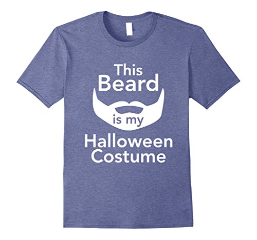 [Men's This Beard Is My Halloween Costume Men's T-shirt Large Heather Blue] (Manly Halloween Costumes)