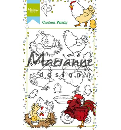 Marianne Design Hetty's Chicken Family Clear Stamp Set, Synthetic Material, 18.6 x 10.9 x 0.4 cm