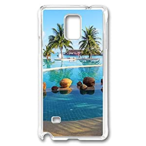 VUTTOO Rugged Samsung Galaxy Note 4 Case, Holiday Inn Maldives Resort Pool Palm Trees PC Case Cover for Samsung Galaxy Note 4 N9100 Transparent