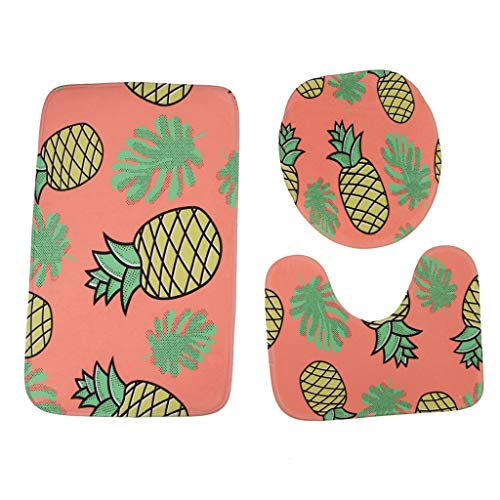 - YAYUMI Coral Velvet Printed Bathroom Toilet Three Piece Floor Mat Door Mat Bathroom Carpet