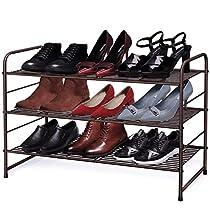 YOMYM シューズラック 多機能収納ラックフレーム 靴棚 下駄箱 ブーツ玄関収納 積み重ねおよび棚板高さ調節可能 組み立て式 特大容量 省スペース フィットブーツ、ハイヒール、スリッパなど適用(ブロンズ)