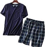 Amoy madrola Men's Cotton Soft Sleepwear/Short Sets/Pajamas Set SY227-Round Navy2-XL