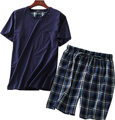 Amoy madrola Men's Cotton Soft Sleepwear/Short Sets/Pajamas Set SY227-Round Navy2-XL by Amoy madrola