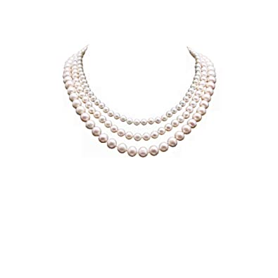 79106e24dbb3f JYX Pearl Triple Strand Necklace AA+ Multi-Size Round White Freshwater  Pearl Necklace 18