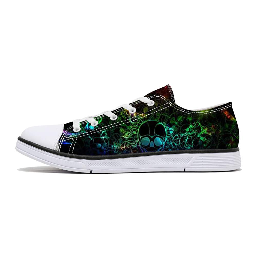 FIRST DANCE Women/Men Skull Printed Shoes Paisley Printed Casual Sneakers Girls Student Canvas Shoes for Ladies Cute 7.5US W