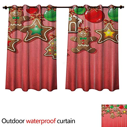 - Gingerbread Man 0utdoor Curtains for Patio Waterproof Christmas Cookies and Baubles with Bowties Symbolic Pastry Kids Design W120 x L72(305cm x 183cm)