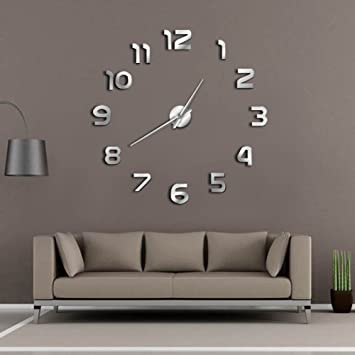 QUTICL Reloj De Pared Gigante De Bricolaje Moderno Sencillo Reloj Analógico De Diy 3D La Superficie Del Espejo Gran Saudita Reloj De Pared Números Adhesivos ...