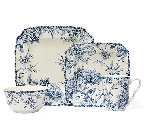 222 Fifth Adelaide Blue 16-piece Dinnerware Set, Service for 4 by 222 Fifth (Image #1)