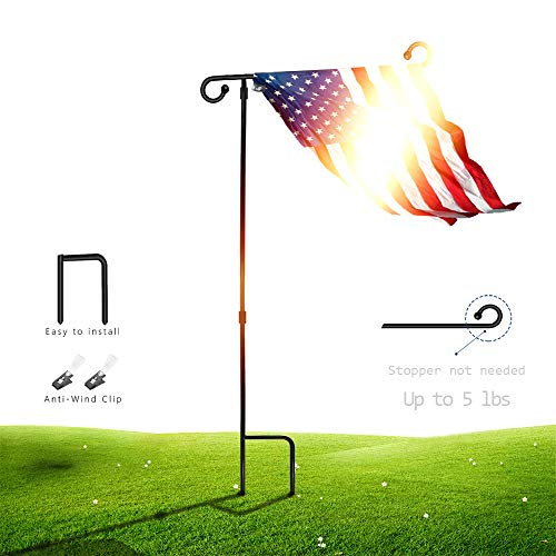 SSRIVER Garden Flag Stand Pole Holder with Anti-Wind Clip 35.5