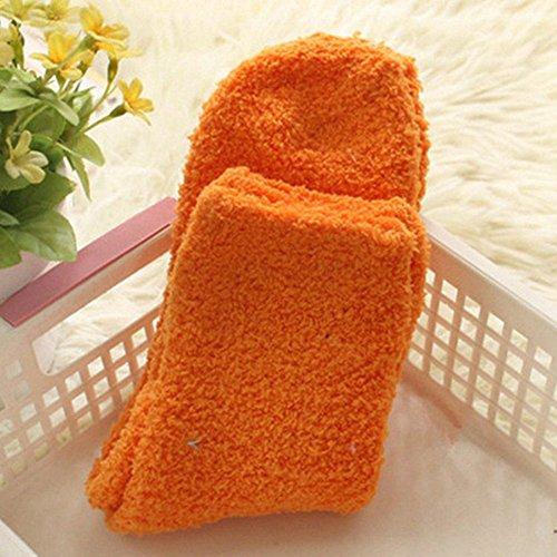Buyeonline Damene Koselige Myk Fleece Non Slip Tøffel Salong Seng Sokker One Size, Oransje