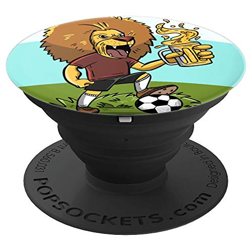 (Lion Beer Soccer Funny King of Jungle Football Player Gift - PopSockets Grip and Stand for Phones and Tablets)