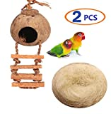 Hanging Bird House Cage Toy for Pet Bird Natural Coconut Fiber for Bird Nest Breeding Bird Nesting Box(Pack of 2) (Bird Coco nest)