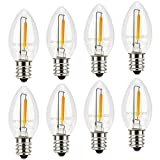 Night Light Bulbs, C7 Candelabra Bulb, Emotionlite LED Light Bulbs with E12 Chandelier Base, 0.5 Watt (4W 5W 6W Incandescent Equivalent), 50LM, Warm White, 2700K, Clear, 8 Pack