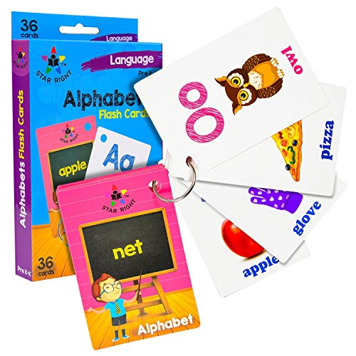 Star Right Alphabets Flash Cards with Pictures, 36 Cards, with 1 Ring, for Ages Pre-K & K